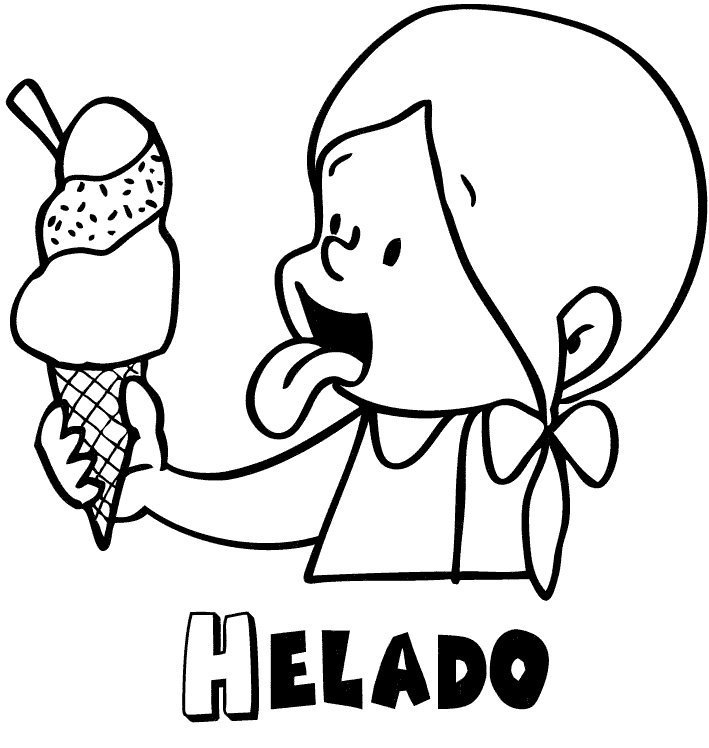 Dibujo para colorear de niña comiendo helado en verano