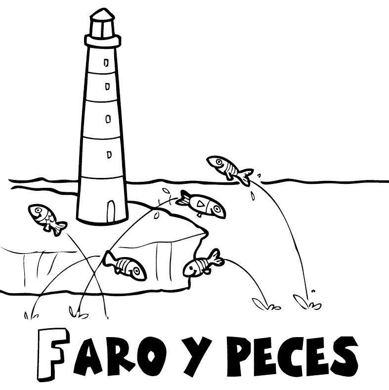 Faro y peces en verano