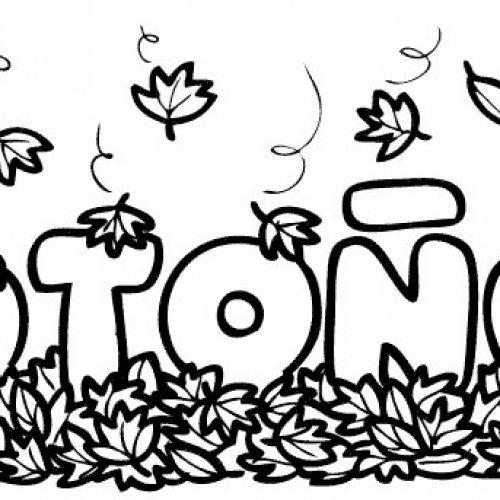 Dibujo de la palabra otoño para colorear con los niños