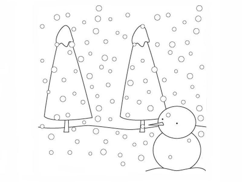 Paisaje Con Nieve Para Colorear Dibujos De Navidad