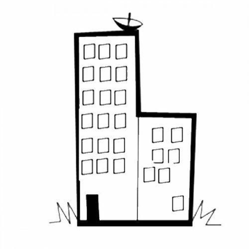 Dibujo para colorear de un edificio con parabólica para los niños