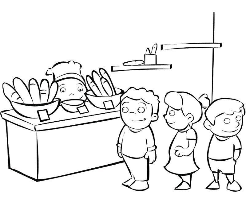 Dibujo Gratis Para Pintar De Niños Haciendo Cola En La Panadería