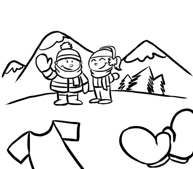 Niños en la montaña para colorear. Dibujos de invierno