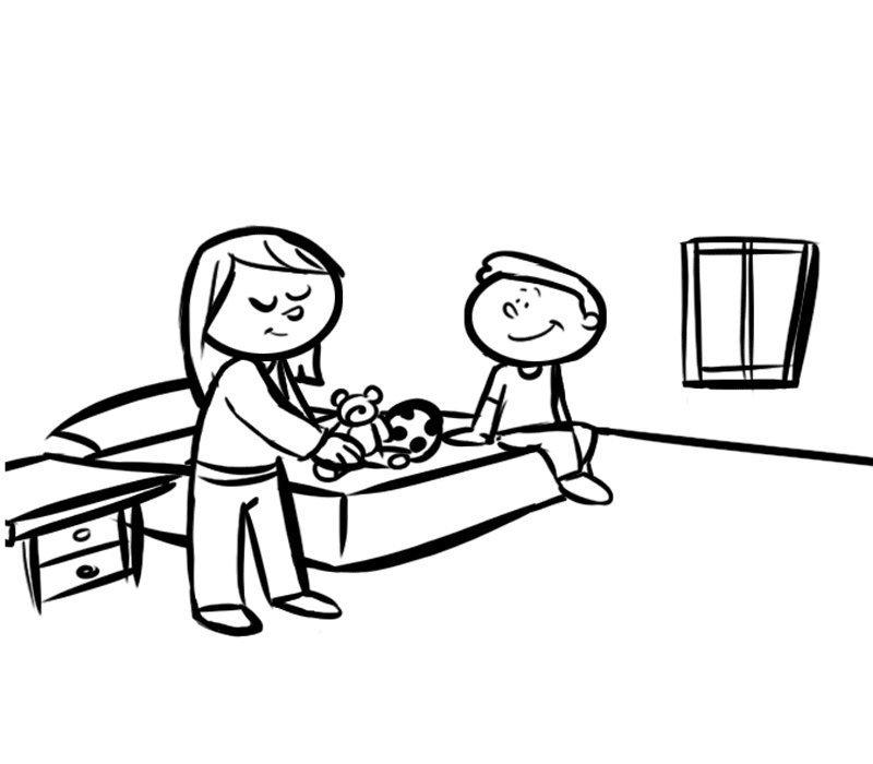Niño y madre en la habitación