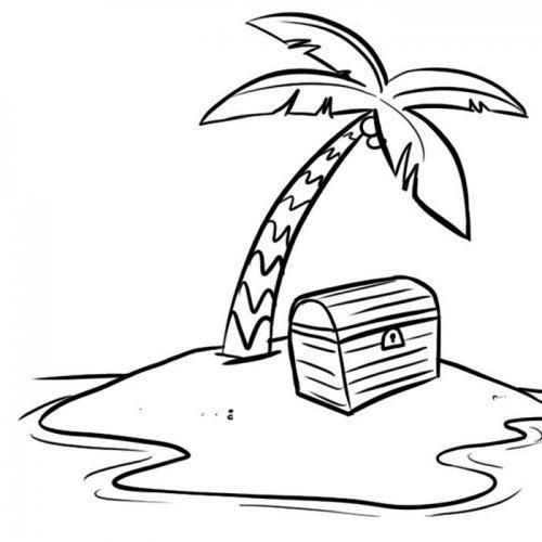 Dibujo de la Isla del tesoro para imprimir y colorear. Dibujos de cuento