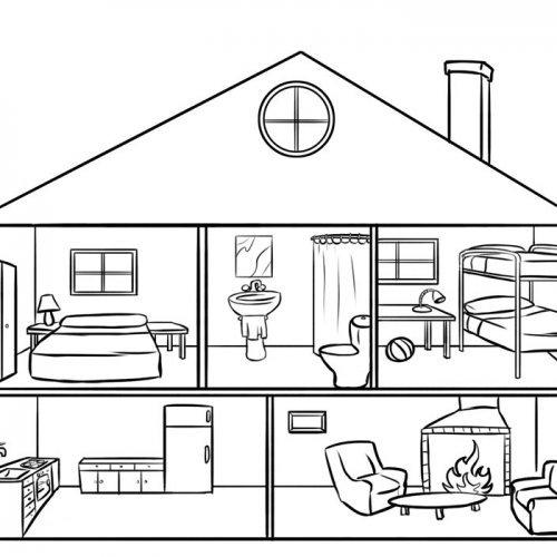 Casa por dentro para colorear por los niños. Dibujos de casas gratis