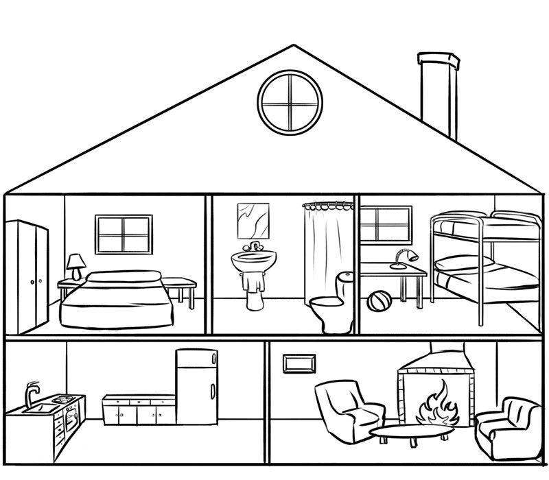 Casa Por Dentro Para Colorear Por Los Niños Dibujos De Casas Gratis