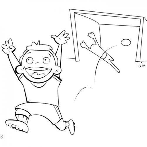 Niño marcando un gol
