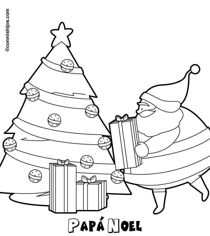 Imagen de Papá Noel dejando sus regalos a los niños