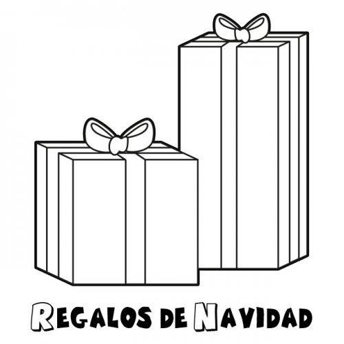 Dibujo infantil de regalos de Navidad para imprimir y pintar