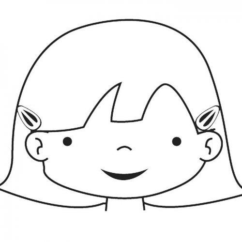 Dibujo de la cara de una niña para colorear con los niños