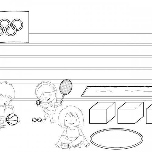 Niños y niñas haciendo deporte. Dibujos para colorear