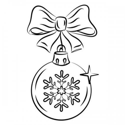 Desenho de bola de Natal com laço para pintar