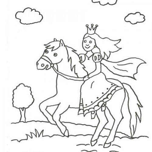 Desenho de princesa montada num cavalo para pintar