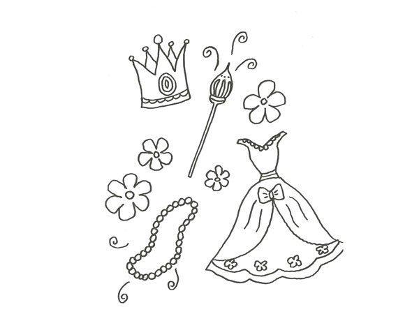 Desenho De Roupas E Acessorios De Princesa