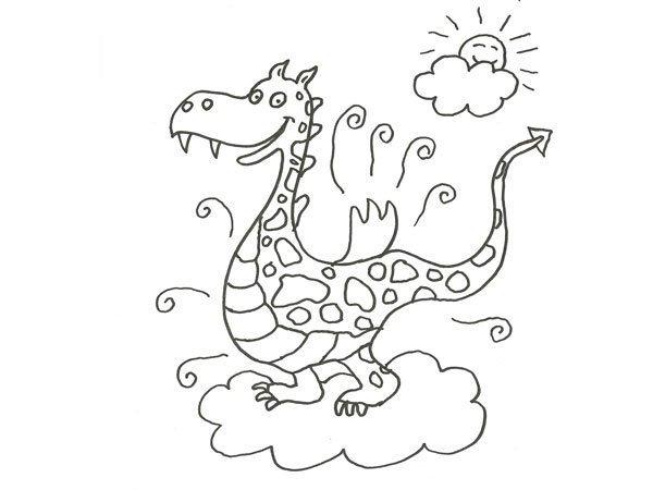 Desenho de um dragón para colorir