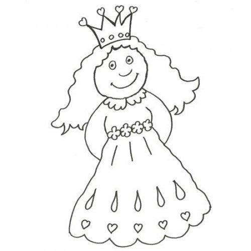 Uma pequena princesa. Desenho para colorir