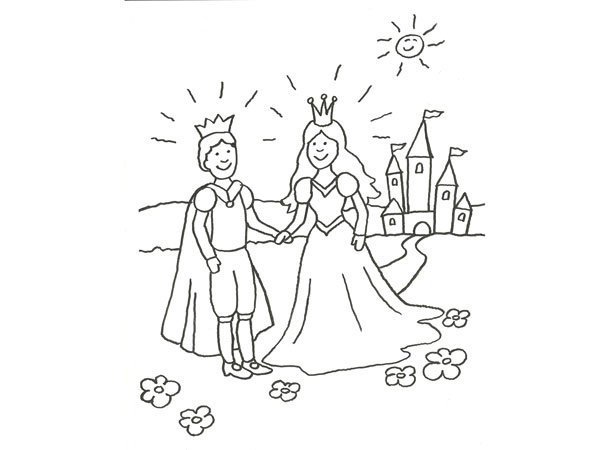 Desenho de príncipes apaixonados para pintar
