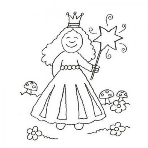 Desenho de princesa com varinha mágica para pintar