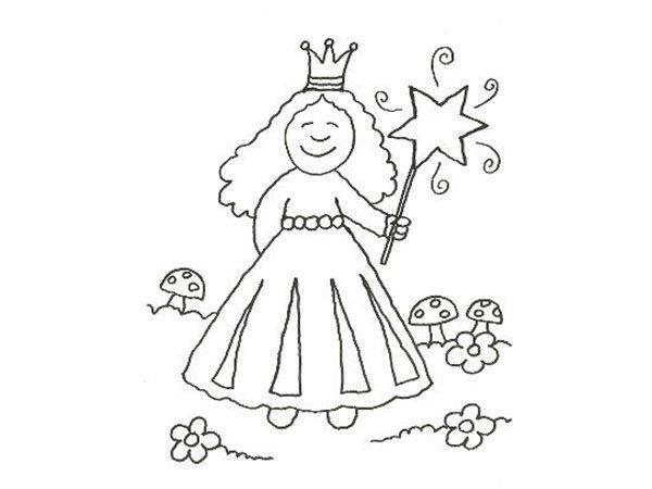Desenho De Princesa Com Varinha Magica Para Pintar