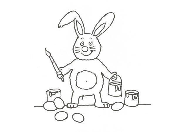 Desenho de coelho pintor de ovos de Páscoa