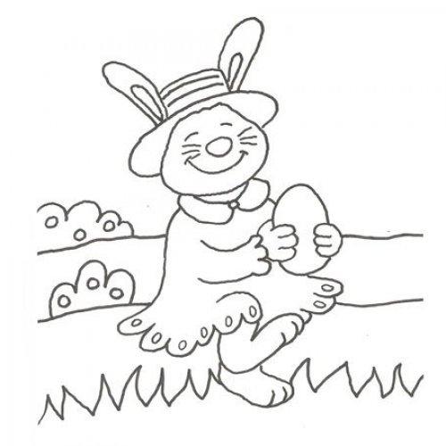 Desenho de uma coelha com ovo de Páscoa