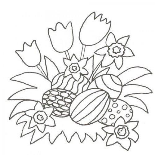 Desenho de ovos de Páscoa no meio de flores