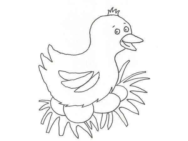 Desenho De Uma Galinha Com Ovos De Pascoa