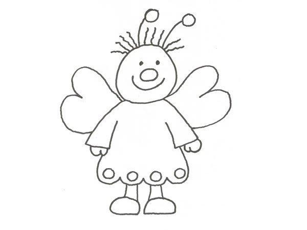Desenho de uma borboleta vestida para pintar