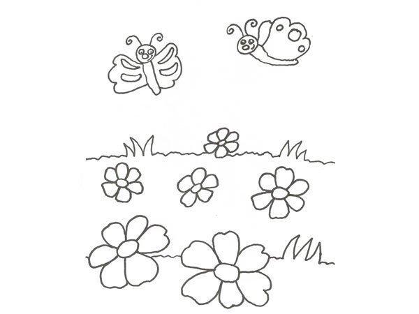 Desenho de flores e borboletas para colorir