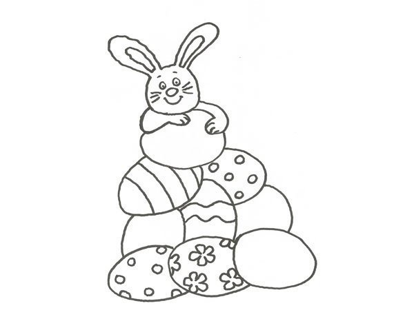 Desenho de um coelho com ovos de Páscoa