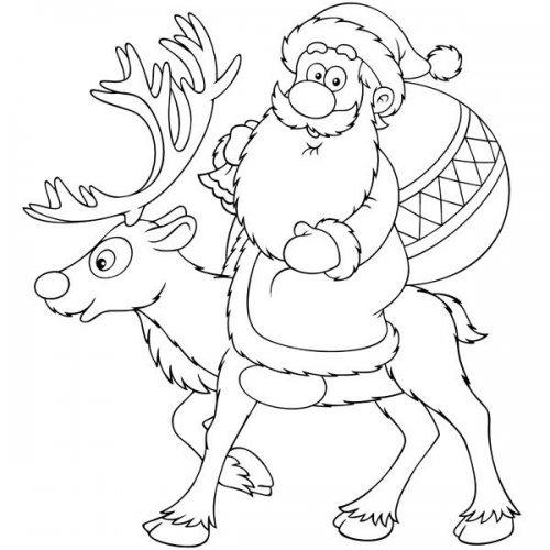 Dibujo de Papá Noel en su reno para colorear