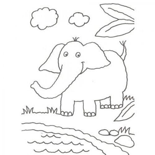 desenho de elefante para colorir com as crianças