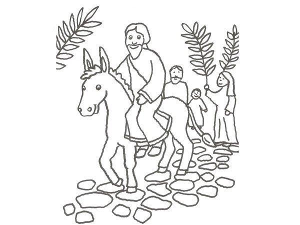 Desenho de Jesús montado num burro para pintar