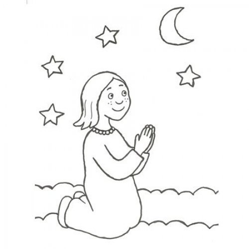 Desenho De Uma Menina Rezando Para Pintar