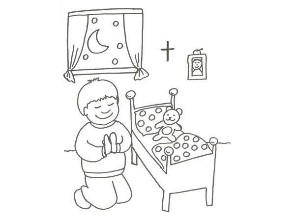 Desenho de menino rezando para colorir