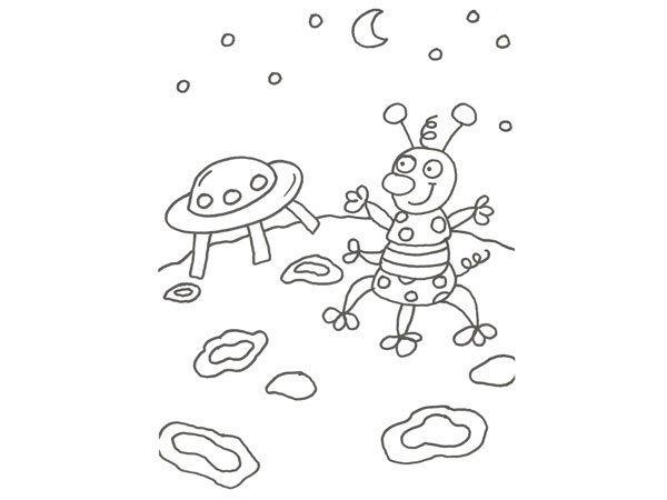 Desenho de marciano e nave espacial para pintar