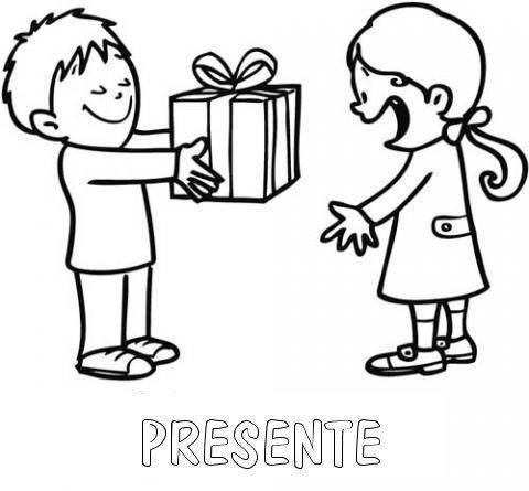 Desenho para pintar de menina recebendo presente