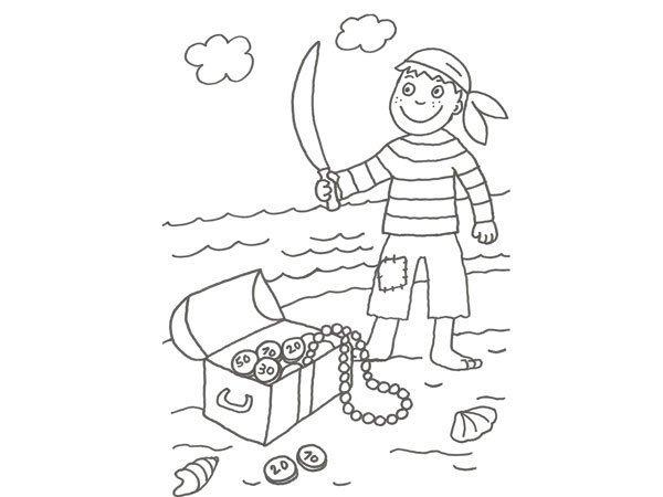 Dibujo de un pirata y su tesoro para colorear con niños