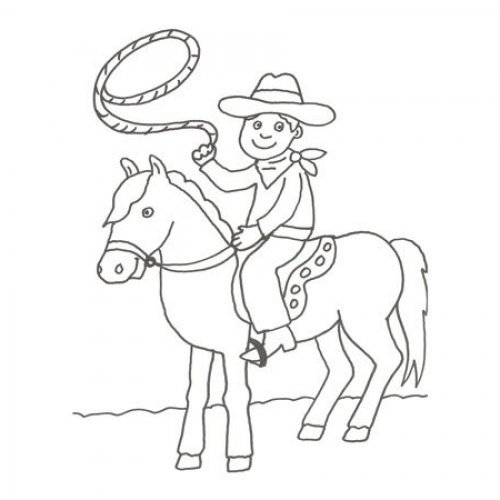 Dibujo de un vaquero en el rodeo para pintar con los niños