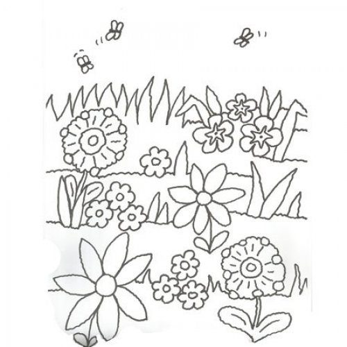 Desenhos de plantação de flores para pintar