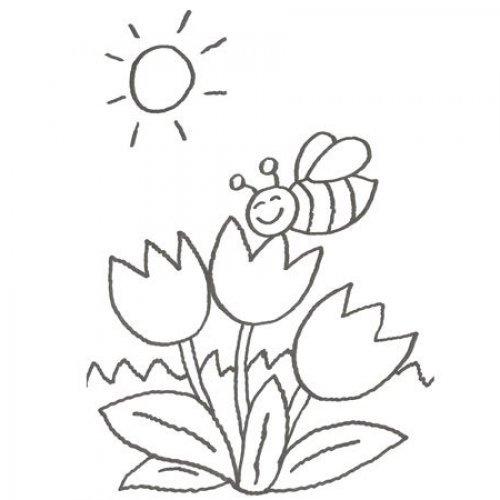 Desenho de tulipas para pintar com as crianças