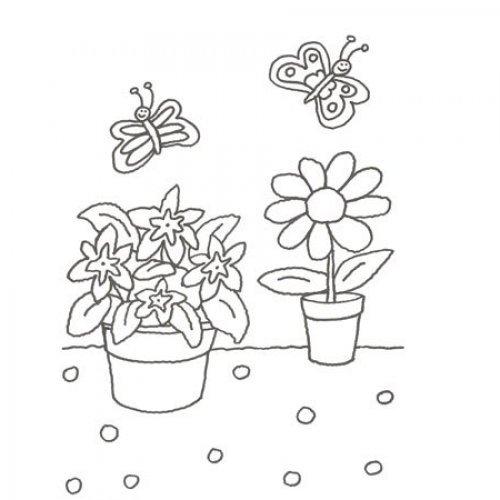 desenho de vasos de flores para colorir