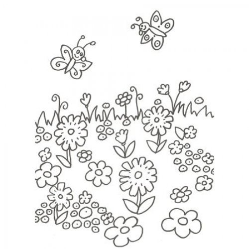 Desenho de flores e borboletas para pintar