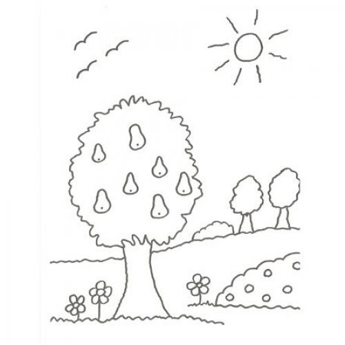 Desenho de uma árvore com frutas para colorir