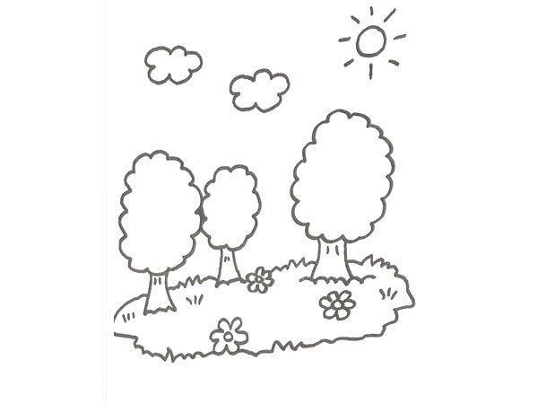 Desenho de árvore com flores para colorir