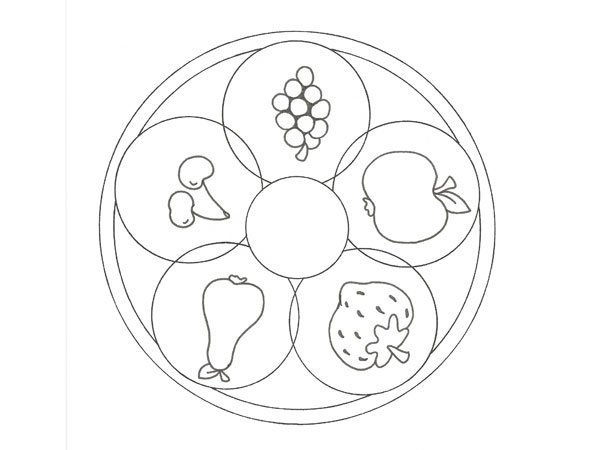 Desenho De Uma Mandala De Frutas Para Pintar