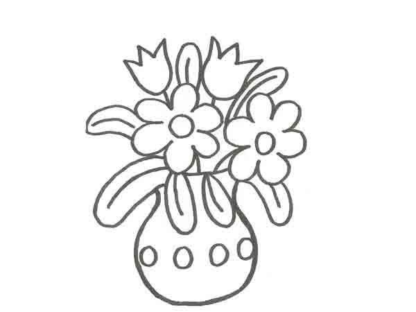 Dibujo De Un Florero Con Flores Para Pintar Con Ninos