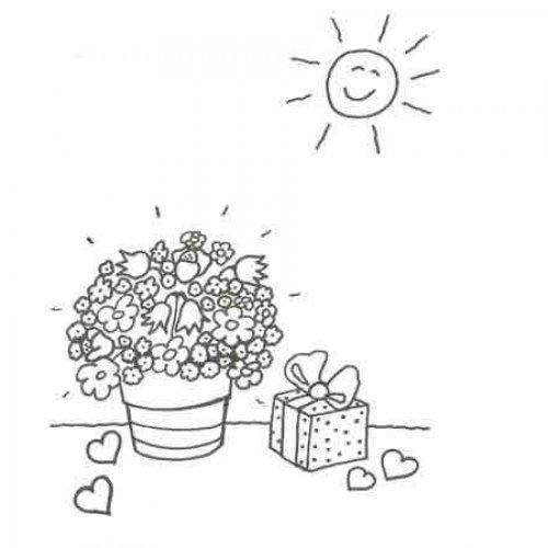 Dibujo de flores y regalos para pintar con niños