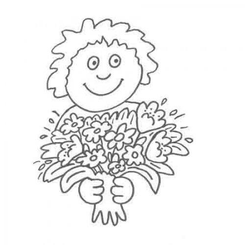 Dibujo de un niño con flores para imprimir y pintar